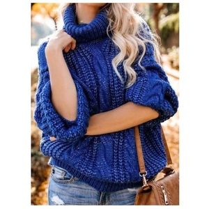Fate chunky cable knit turtleneck sweater …